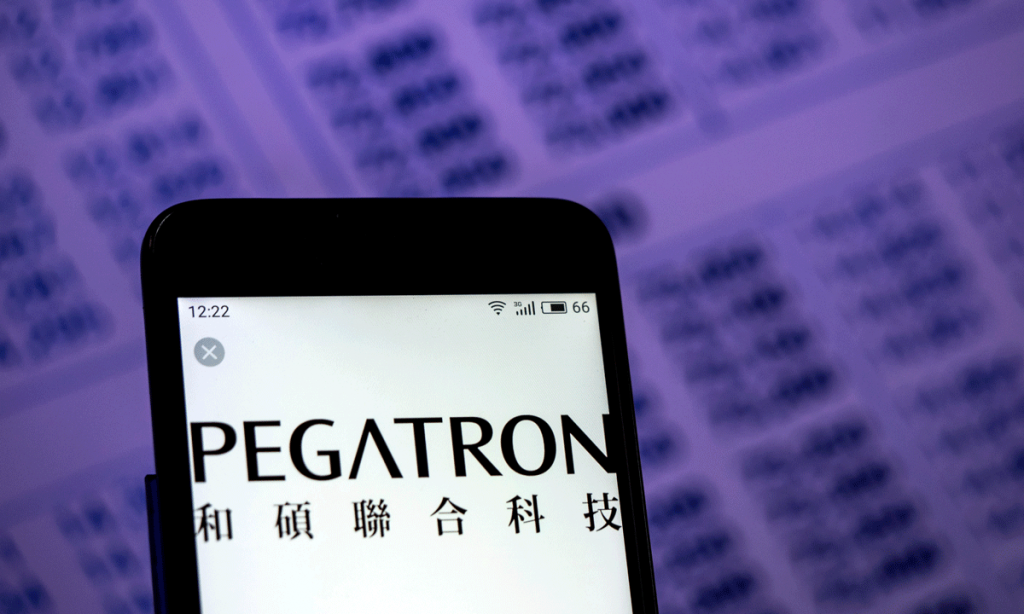The logo of Pegatron Corp is displayed on a smartphone. Photo by Shutterstock/IgorGolovniov.