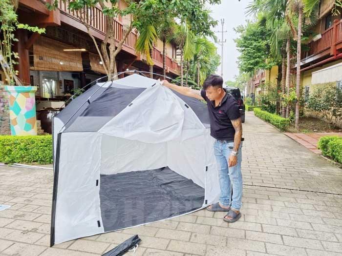 Công ty TNHH Babeeni Việt Nam (Tứ Kỳ) đã chuẩn bị hơn 200 lều bạt làm nơi ở tại chỗ cho công nhân nếu dịch bệnh diễn biến phức tạp