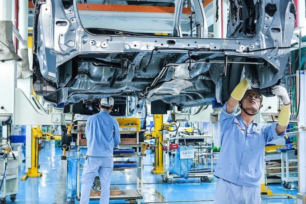 Workers assemble cars in a factory of Toyota Vietnam in the northern province of Vinh Phuc. Photo courtesy of Toyota Vietnam.