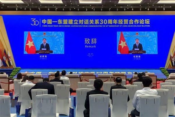 Thứ trưởng Bộ Công Thương Đỗ Thắng Hải phát biểu trực tuyến tại ''Diễn đàn Hợp tác kinh tế thương mại kỷ niệm 30 năm thiết lập quan hệ đối thoại Trung Quốc-ASEAN.'' (Ảnh: Mạnh Cường/TTXVN)